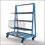 FGL-RW148-12N, Chariot pour le transport et le stockage de profilés verticaux et des vitres, panneaux, etc. , Carro para transporte y almacenamiento de los perfiles verticales y marco de vetana ,FGL Shelf cart forTransport and interim storage of frames and sashes and profiles, FGL Fächerwagen für Rahmenprofile, Rahmenwagen, www.lager-und-transporttechnik.info